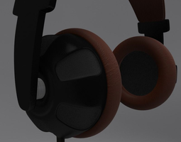 animated headphone and cord realtime 3d model
