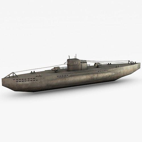 u-boat submarine 3d model low-poly max obj mtl 3ds fbx c4d 1