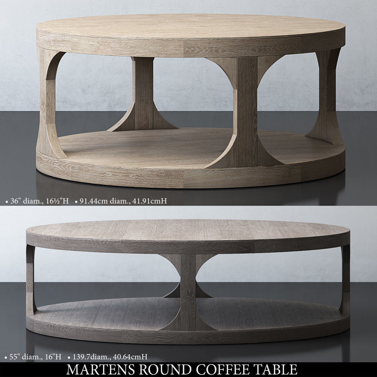 Martens Round Coffee Table Restoration Hardware 36 Inch: MARTENS ROUND COFFEE TABLE 3D Model