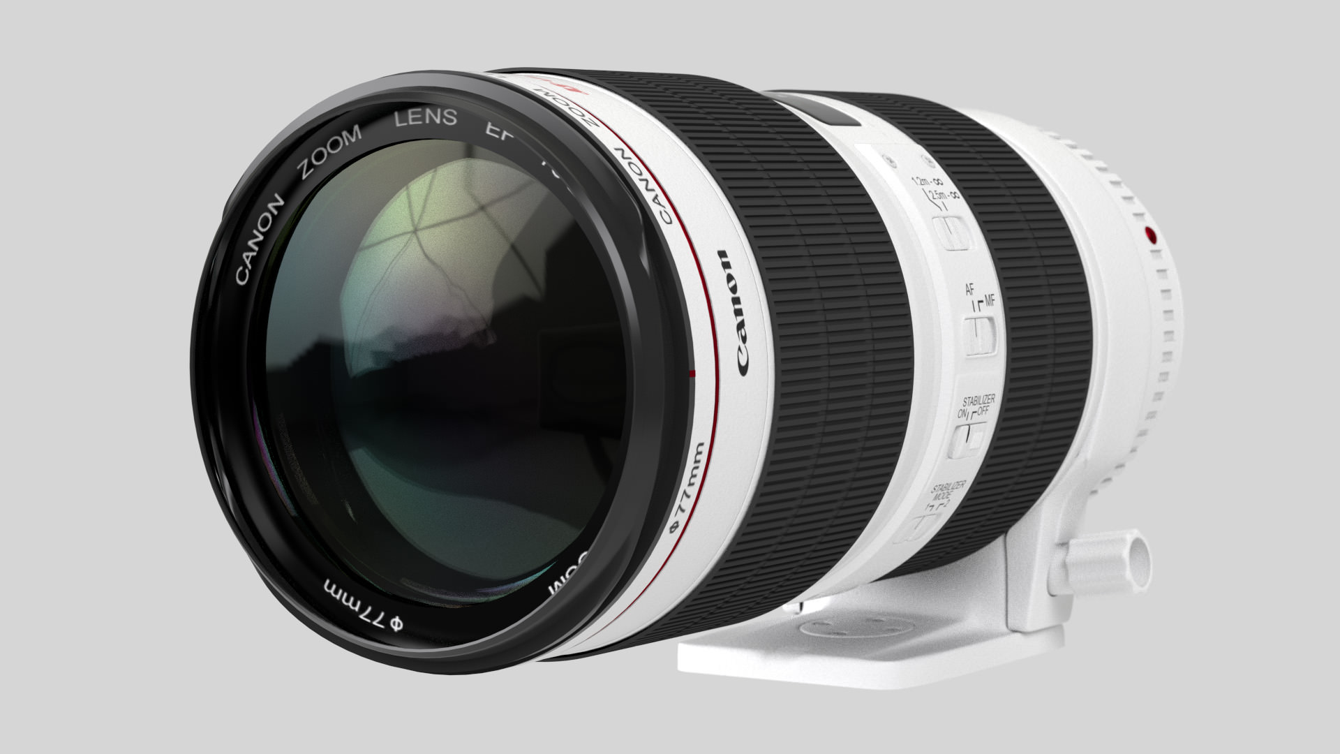 Canon zoom lens ef 70 200mm 1 2 8 l is ii usm 3d model for Best lens for furniture photography