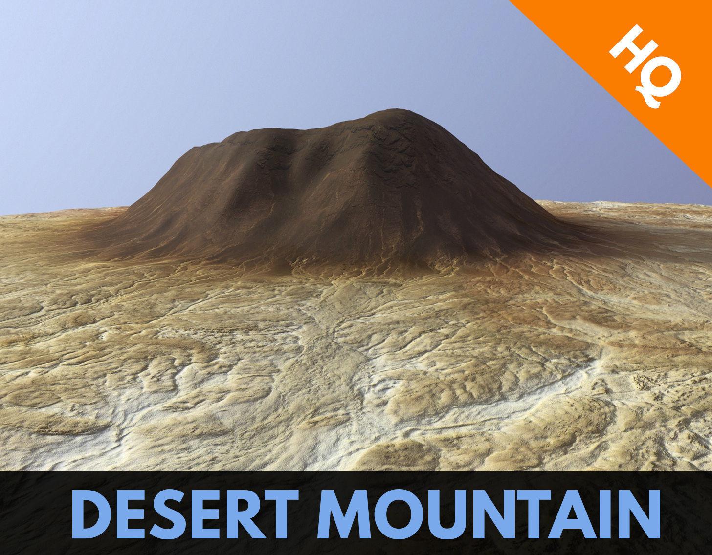 Desert Mountain Africa Landscape Dunes PBR Low Poly 02