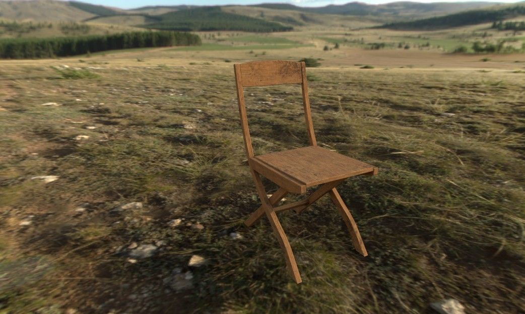 low poly AR VR chair wooden ready to use