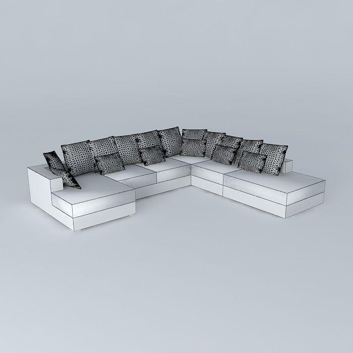 7p loft sofa ivory maisons du monde 3d model max obj for Canape loft maison du monde
