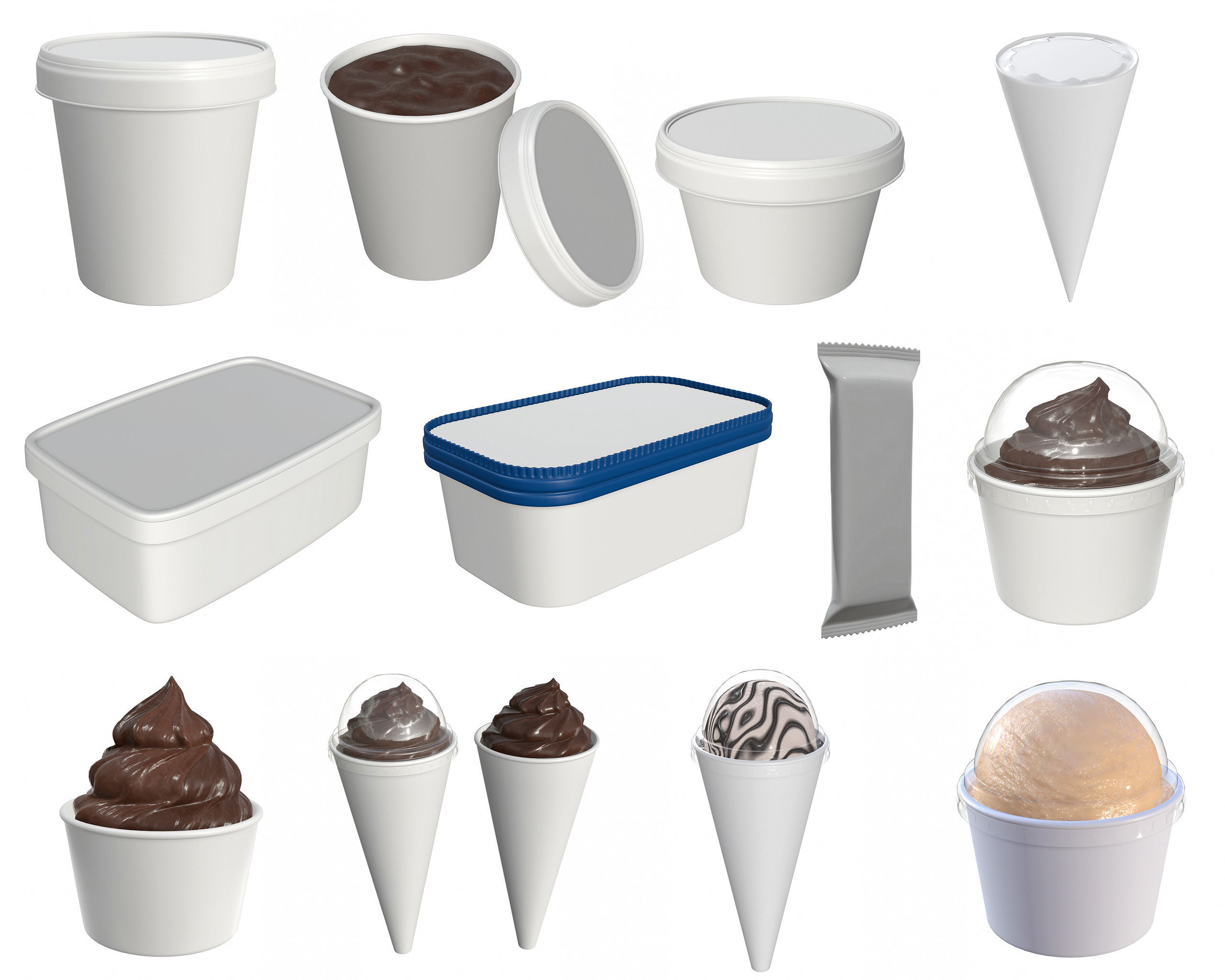 Ice cream packaging for mock up | 3D Model Collection