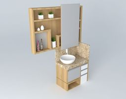 3d model small bathroom with niches and sliding door