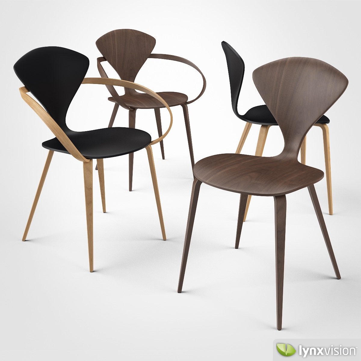 Cherner Side Chair And Armchair 3d Model Max Obj 3ds Fbx Mtl 1 ...
