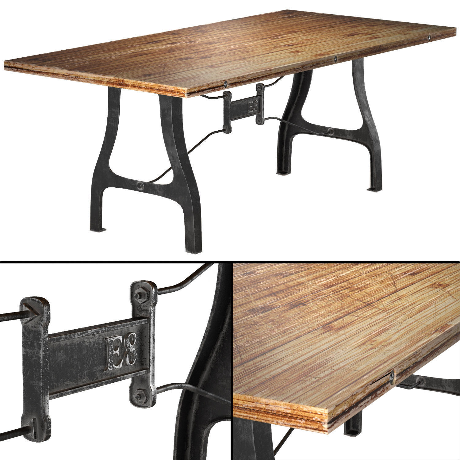 Nuevo v4 a leg small dining table with rec 3d model for New model wooden dining table