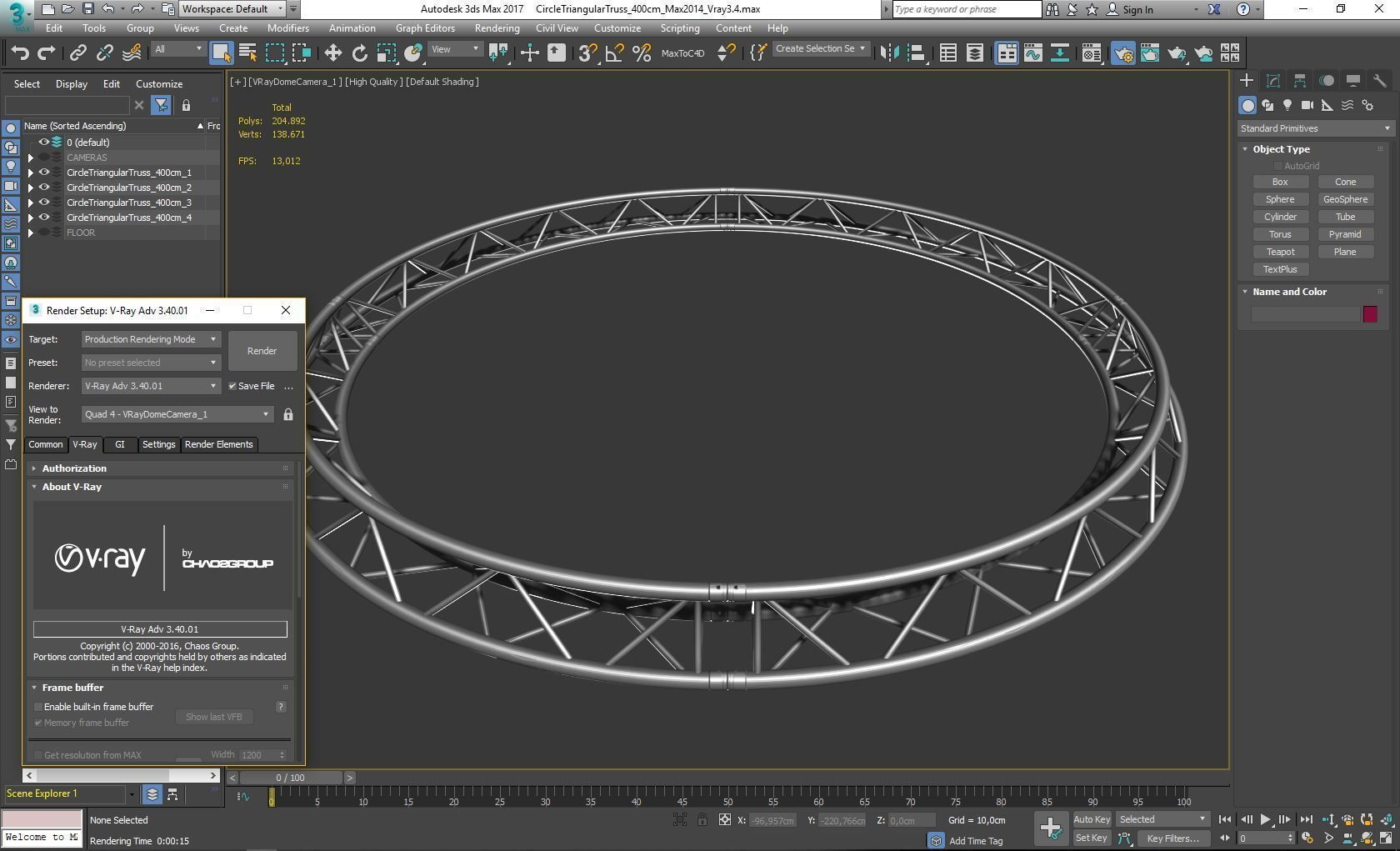Circle Triangular Truss Full diameter 400cm
