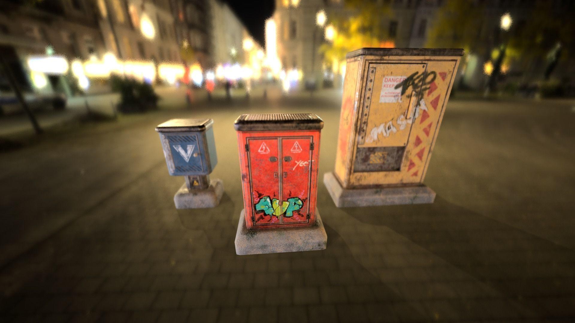 Sci-fi cyberpunk city street electrical boxes