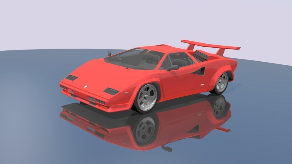 3D model rigged VR / AR ready Lamborghini Countach