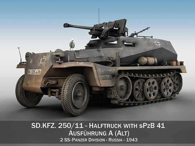 sd kfz 250 halftruck with spzb 41 2 ss-pzdiv 3d model obj mtl 3ds fbx c4d lwo lw lws 1