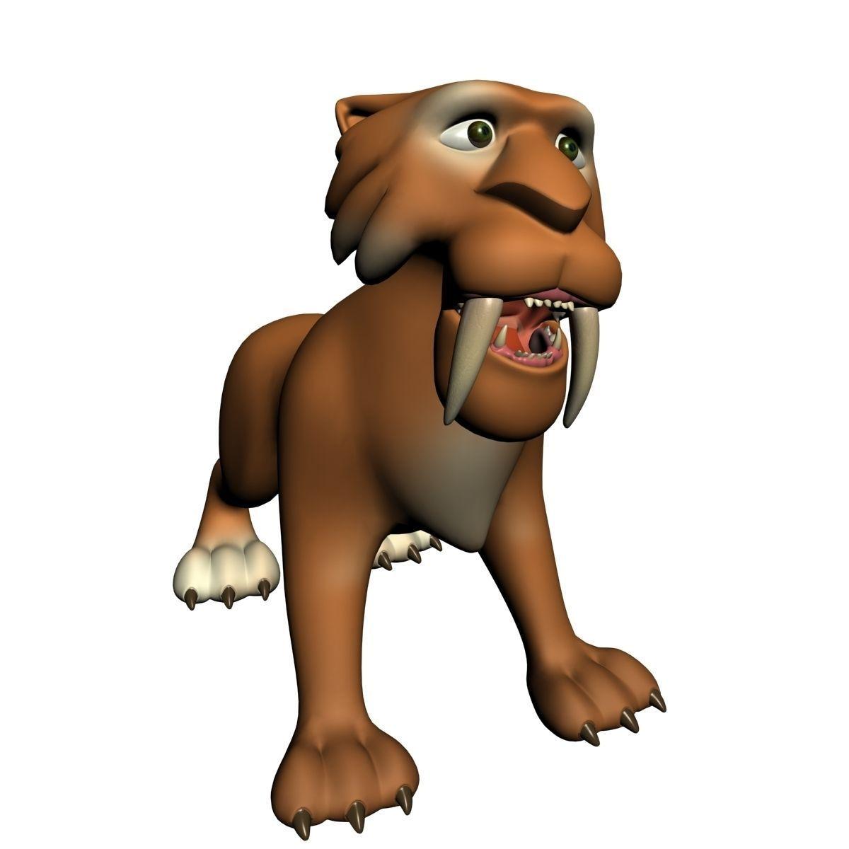 3d model cartoon sabertooth tiger rigged cgtrader rh cgtrader com cartoon sabre tooth tiger Cartoon Sloth