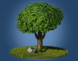 3D asset Cartoon tree