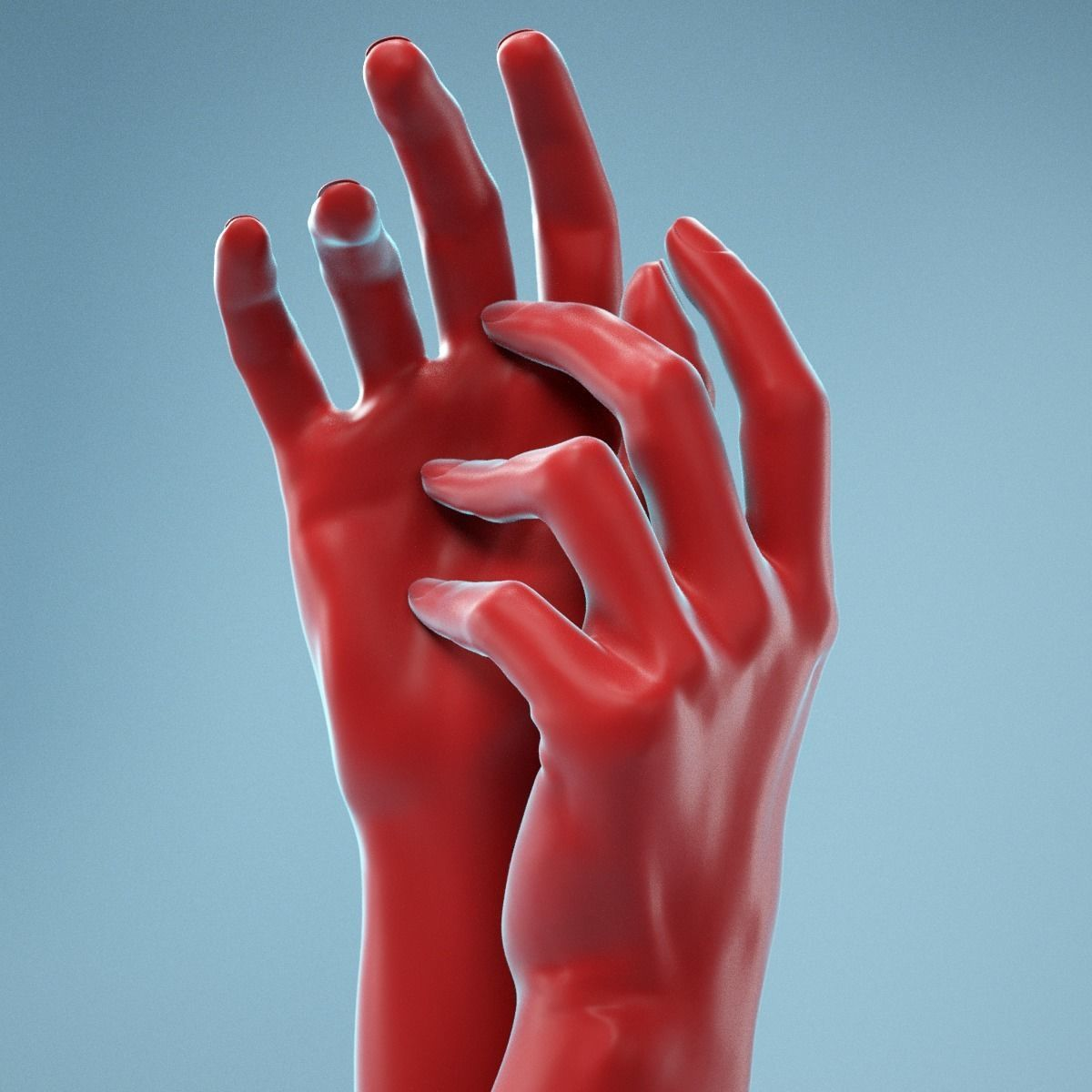 Gently Touching Realistic Hands Model 19