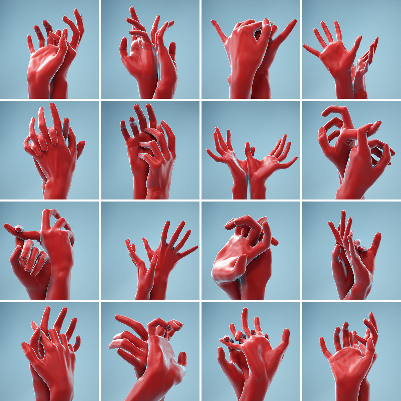 11 Interacting Realistic Hands