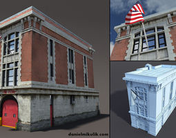 3d model game-ready fire station building low poly