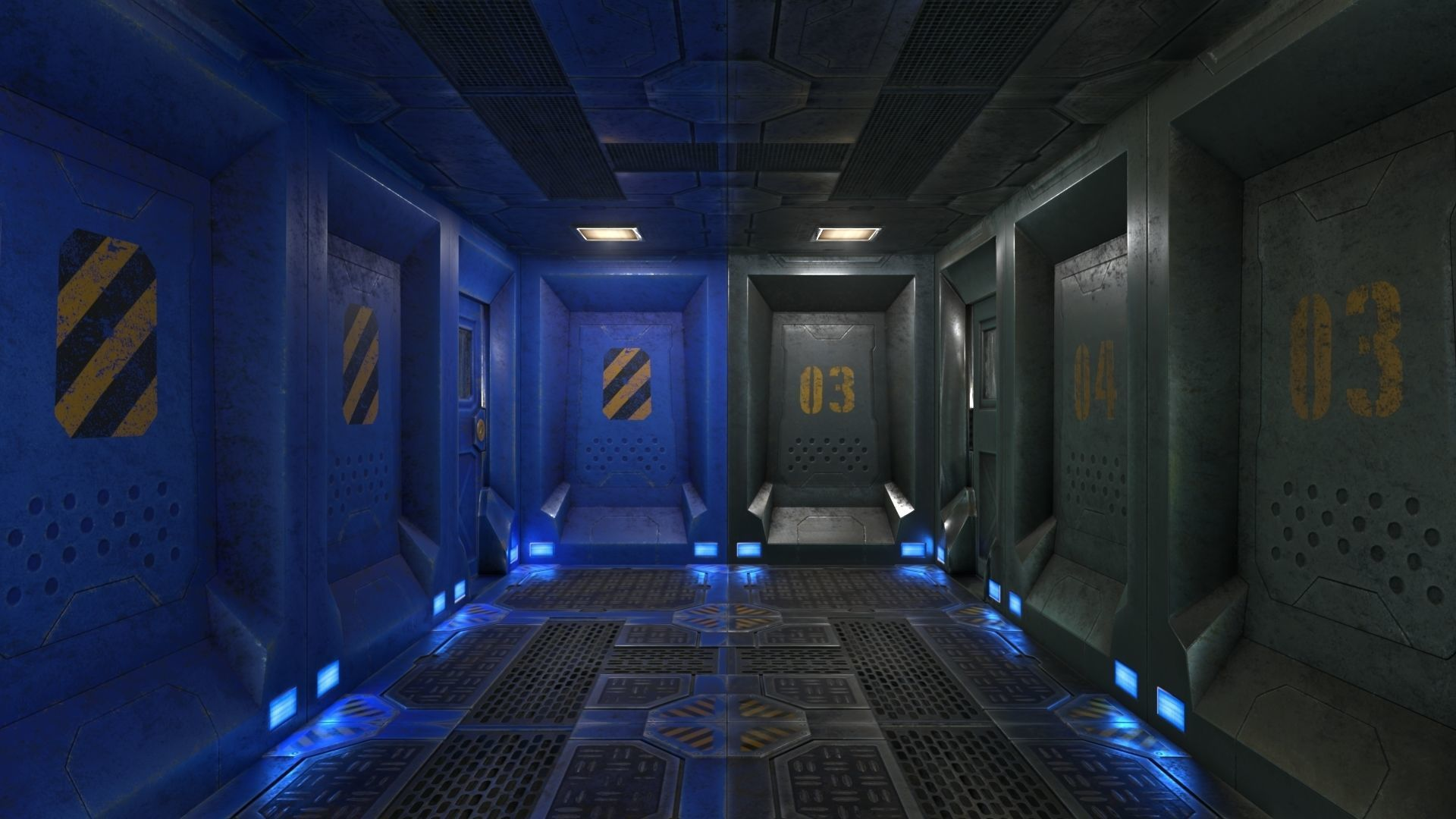 Low Poly Modular SciFi Room With PBR Materials