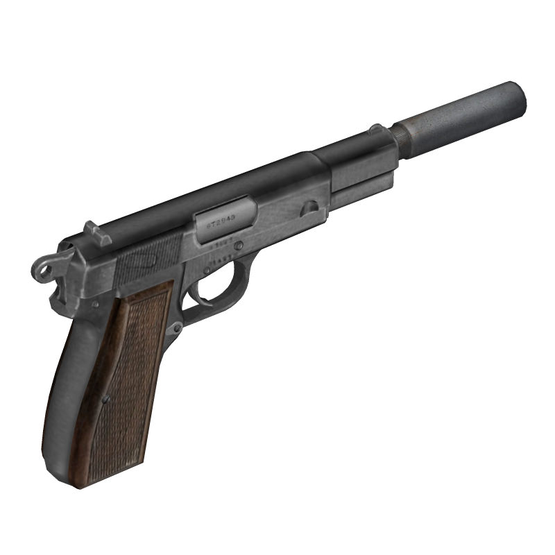 Browning Hi Power 3D Model Obj 3ds