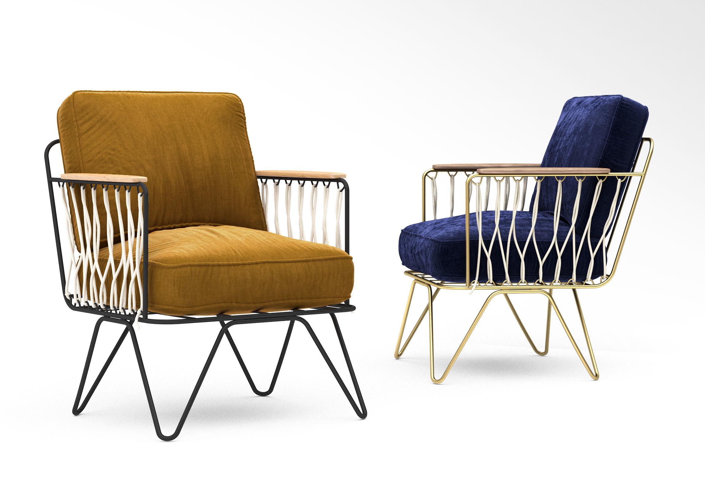 Honore Deco croisette velour armchair
