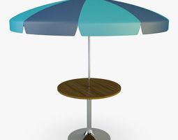 Patio table with umbrella v 4 3D Model