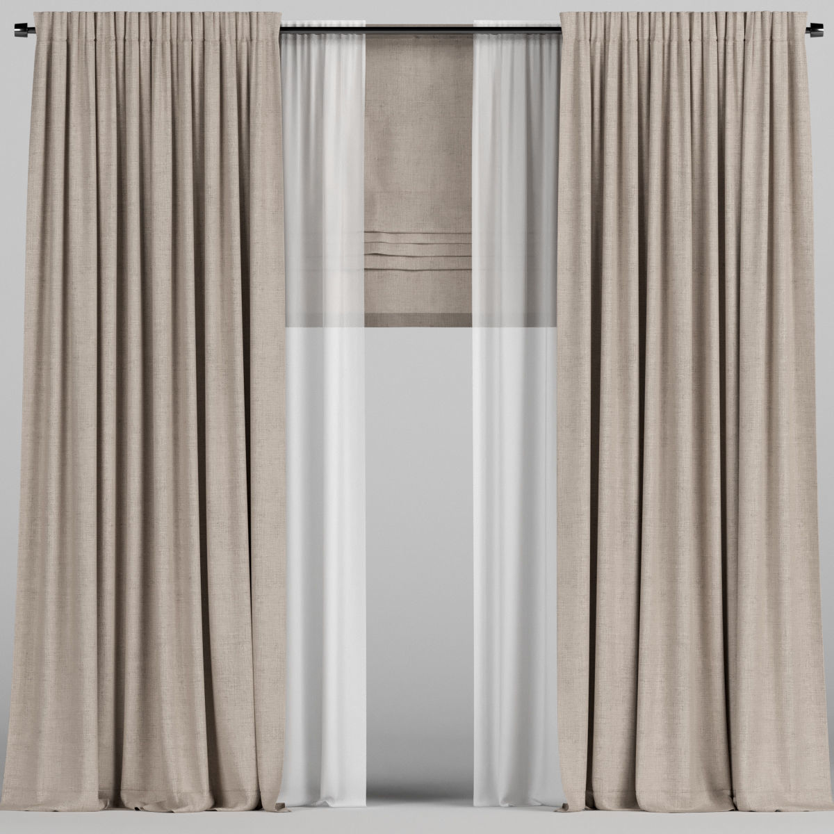 Brown Curtains With Tulle And Roman Blinds 3d Model