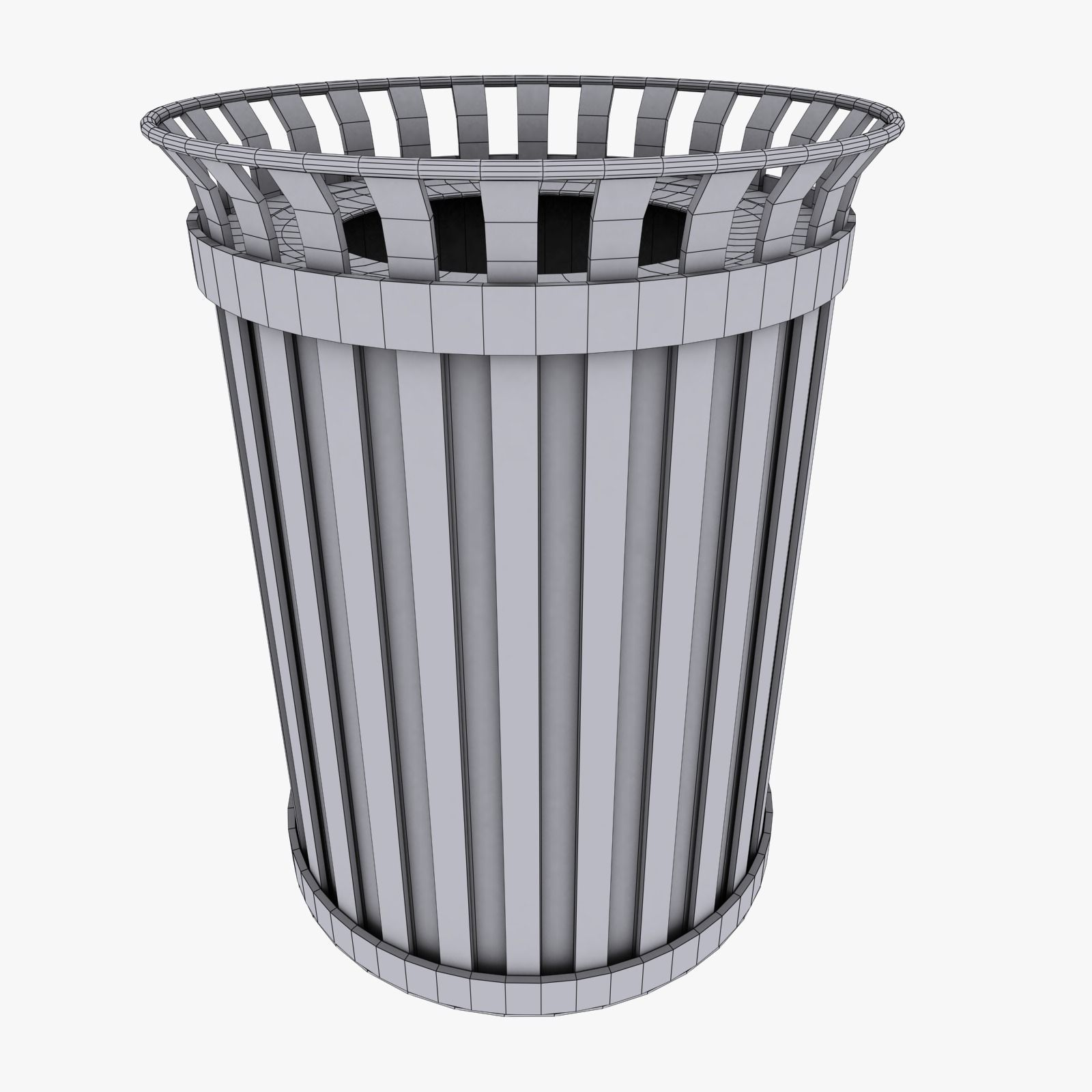 ... Outdoor Trash Can 3d Model Low Poly Max Obj 3ds Fbx Dxf Mtl 4