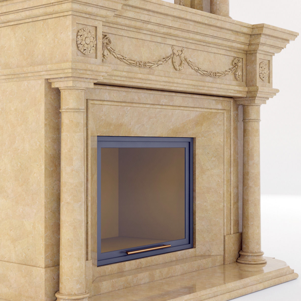 classical marble fireplace 3 3d cgtrader