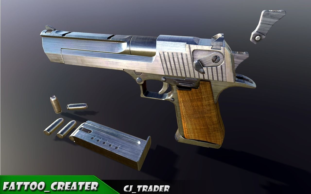 Pistol Desert Eagle Low-poly PBR  3D model