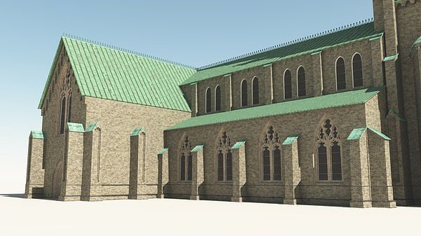 Neo gothic church 3d model obj vue for Architecture 3d vue 3d