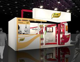 booth pure foods design  VR / AR ready 3d asset