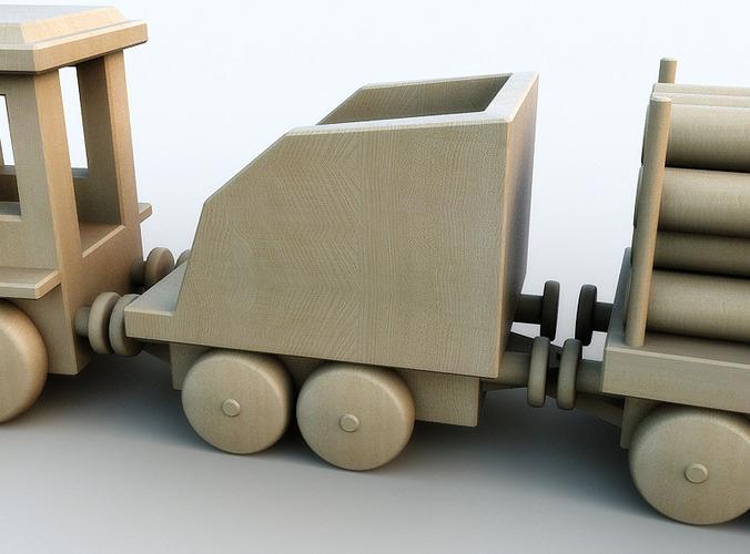 Wooden toy train 3D Model .max .obj .3ds .fbx .lwo .lw ...