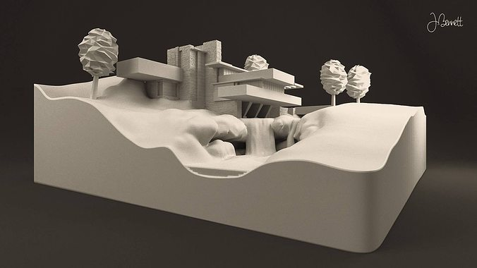 Fallingwater house 3d printable cgtrader for 3d printed model house