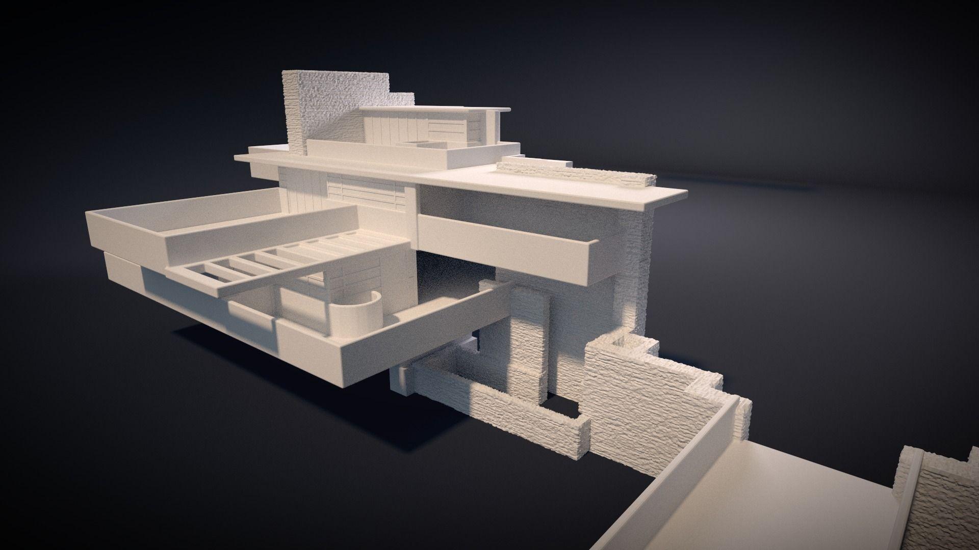 Fallingwater house 3d printable 3d model 3d printable for 3d house model