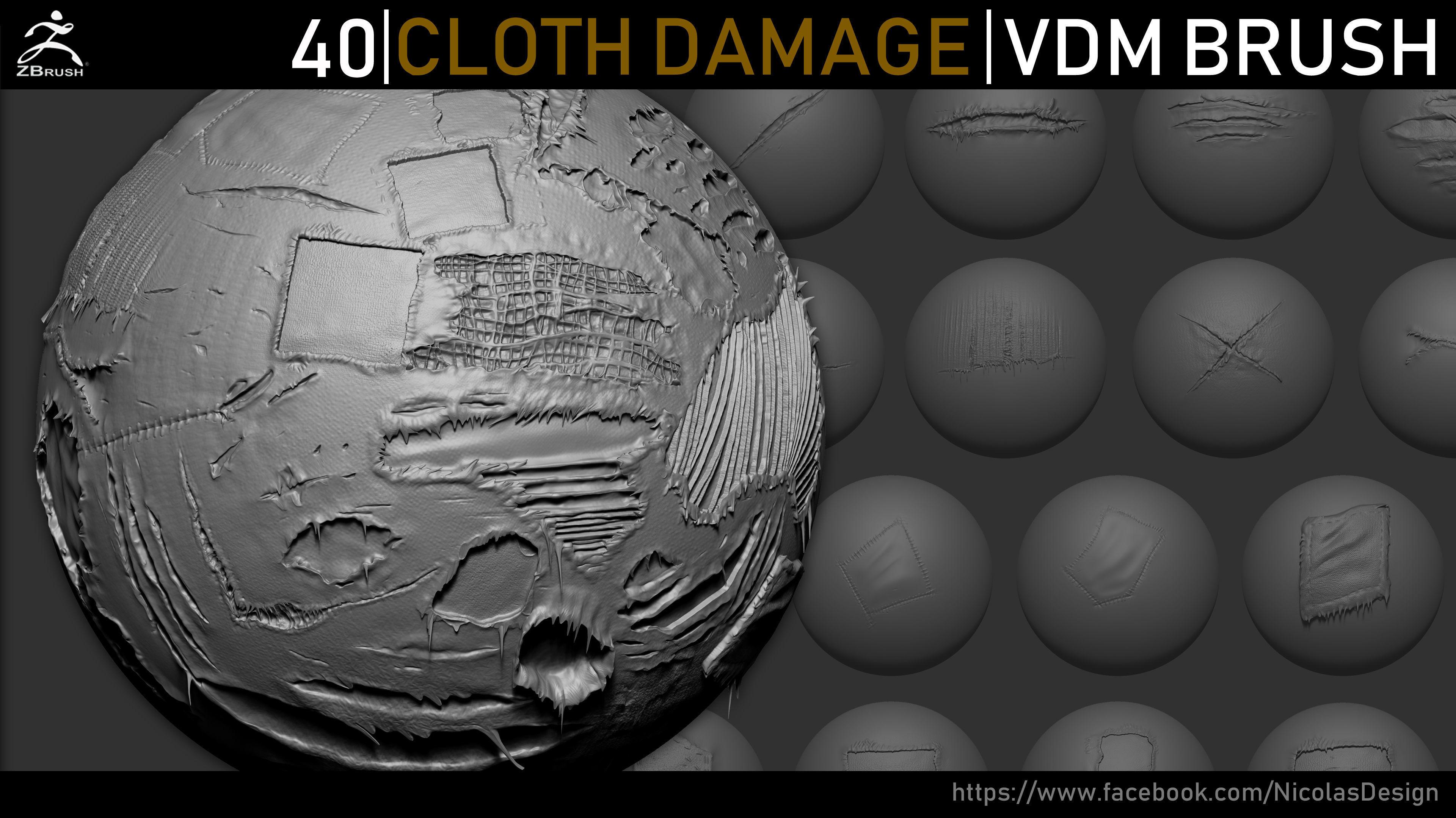 Zbrush - Cloth Damage VDM Brush | Texture
