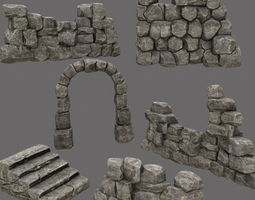wall set 3D asset