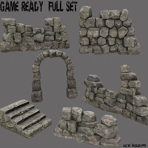 wall set 3d model low-poly obj mtl fbx blend tga 1