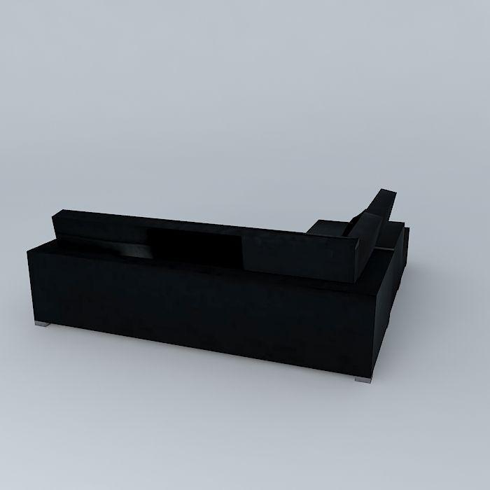 Milano corner sofa anthracite 3d model max obj 3ds fbx stl skp - Sofa antraciet ...