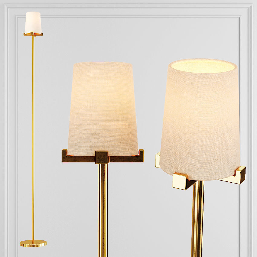 3d Model Rh Pauillac Floor Lamp Fabric Shade And Brass