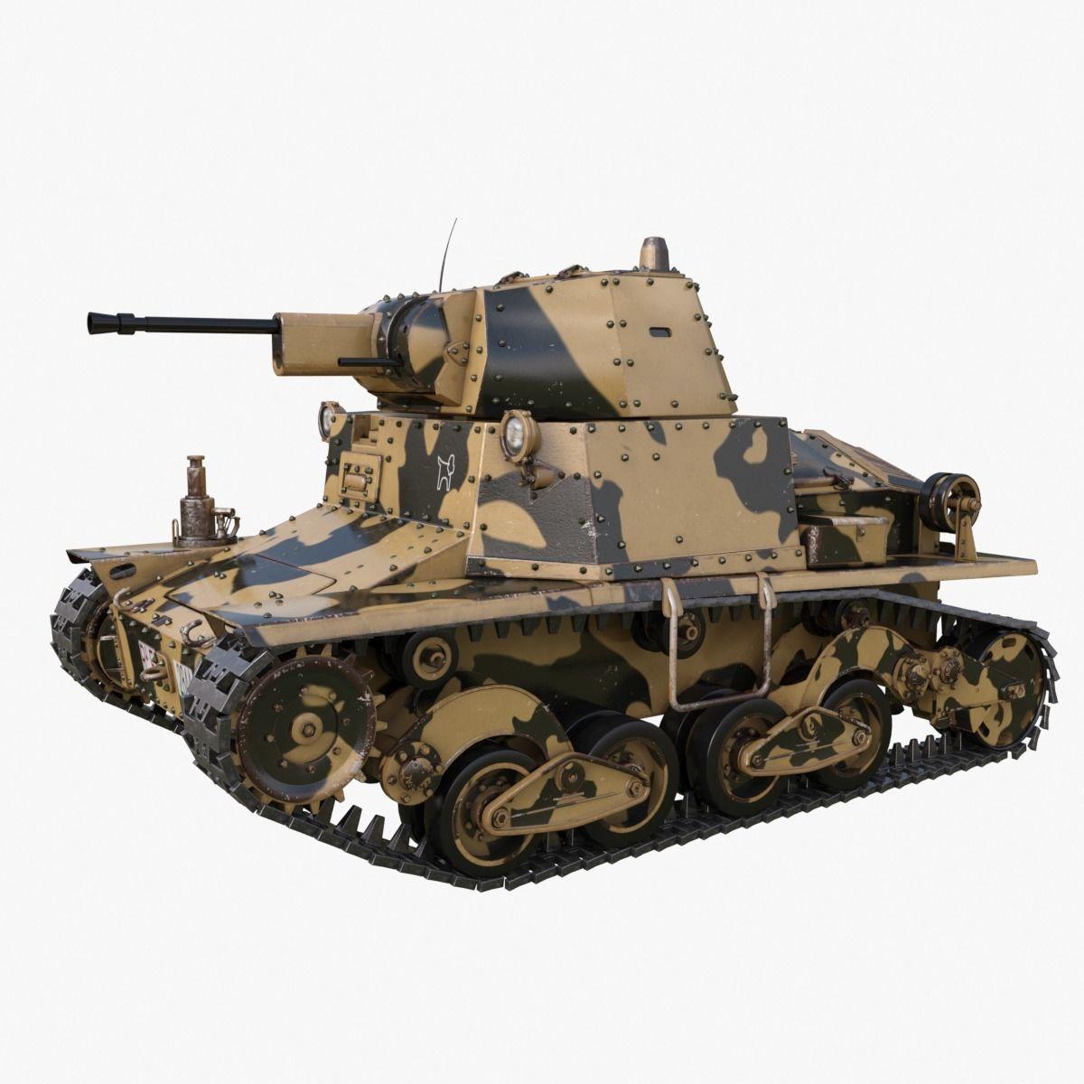 Tank L6 40 Camouflage Ansaldo Fiat Italian Mental Ray