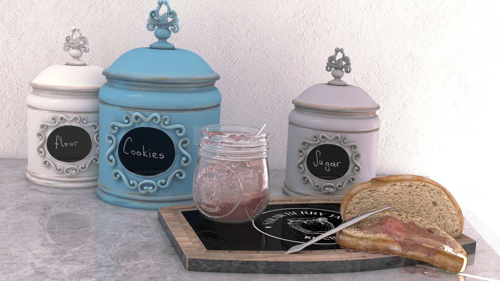 Strawberry Jam and Jar Set