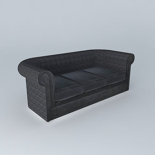 gray sofa chesterfield 3d model max obj 3ds fbx stl dae 1