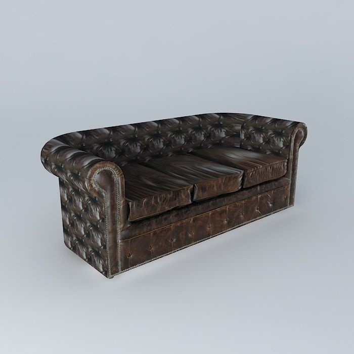 vintage leather couch. Vintage Leather Sofa 3d Model Max Obj 3ds Fbx Stl Dae Couch N