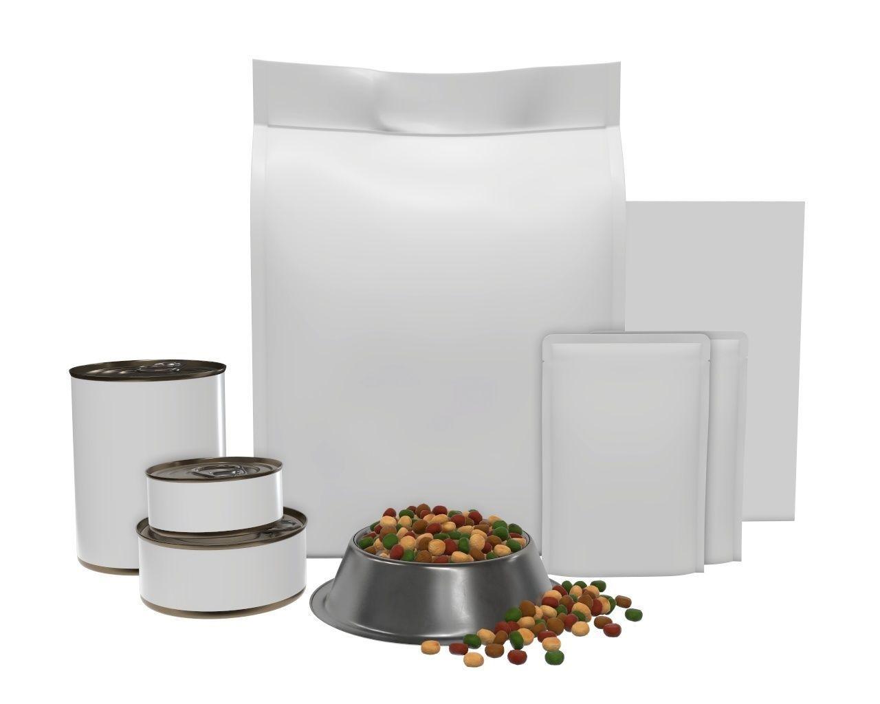 Blank Pet Food Package Set