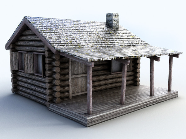 Wooden cottage 3d model max obj 3ds fbx for Exterior 3d model