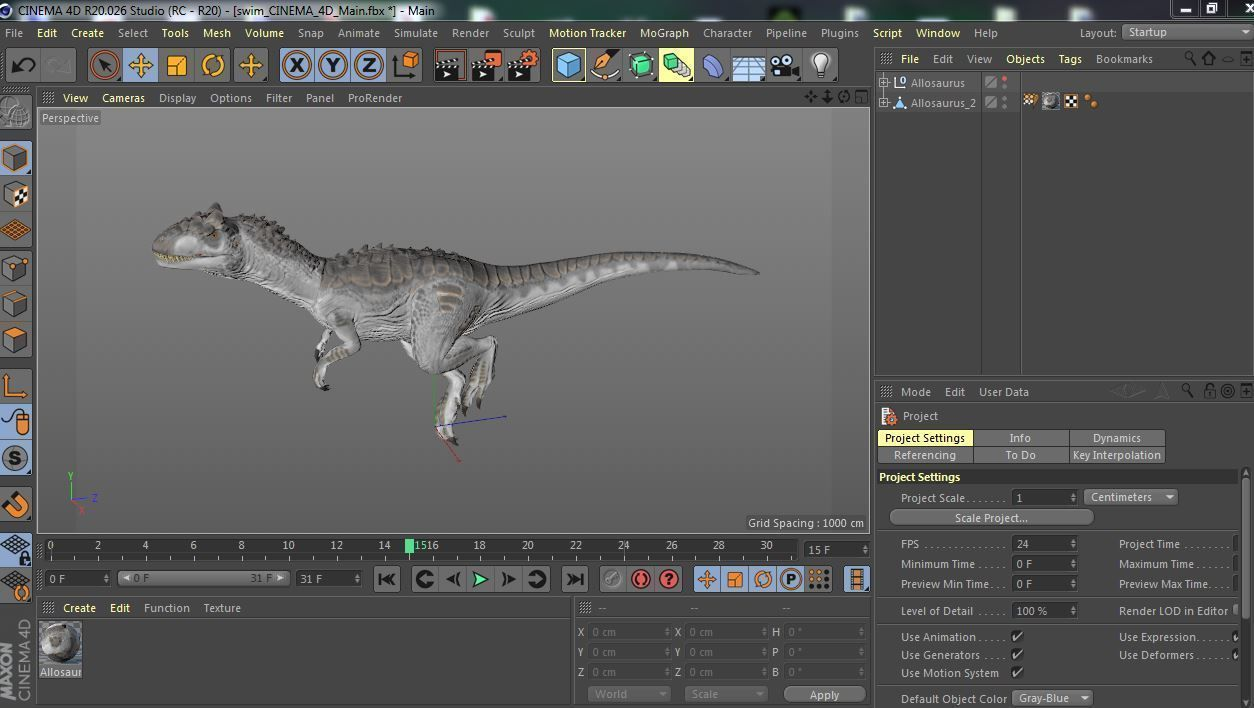 Dinosaur Allosaurus animation file FBX c4d | 3D model