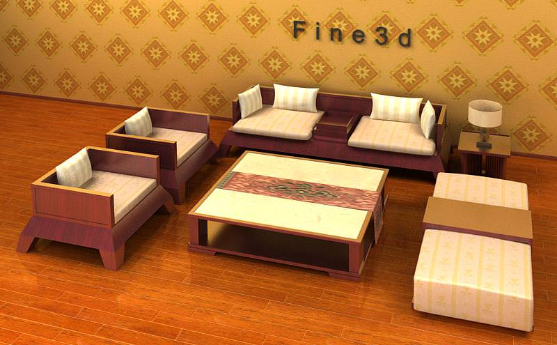 ... Comfortable Living Room Set Collection 3d Model ... Part 58