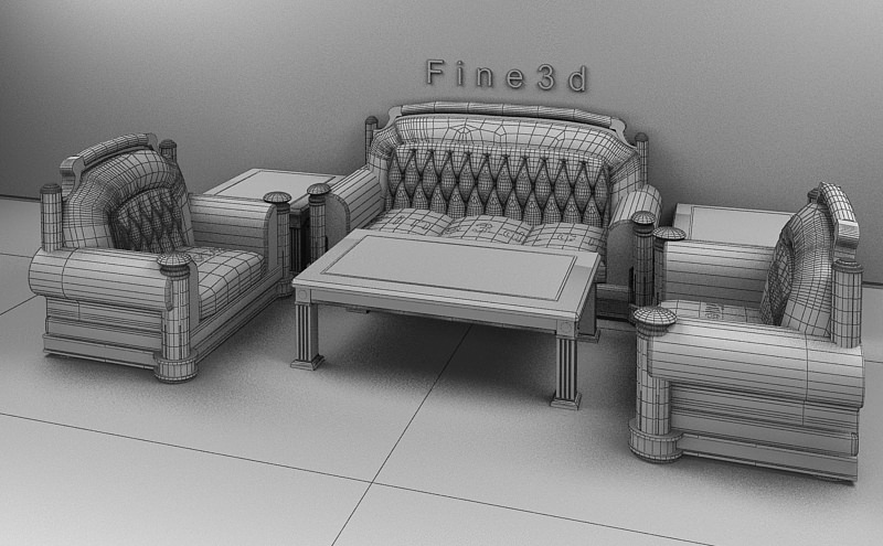 Comfortable Living Room Set Collection 3d Model