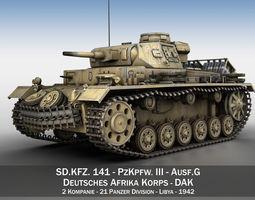 pzkpfw iii - ausf g - dak - 211 3d model obj 3ds fbx c4d lwo lw lws