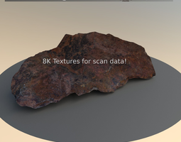 3d model scanned game and render ready rusty rock