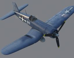 US Navy Fighter Aircraft F4U Corsair 3D Model